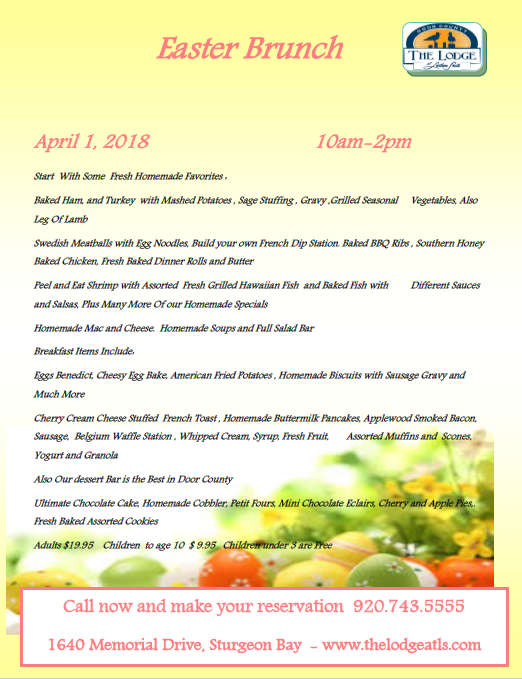 Easter Brunch in Door County at The Lodge at Leathem Smith