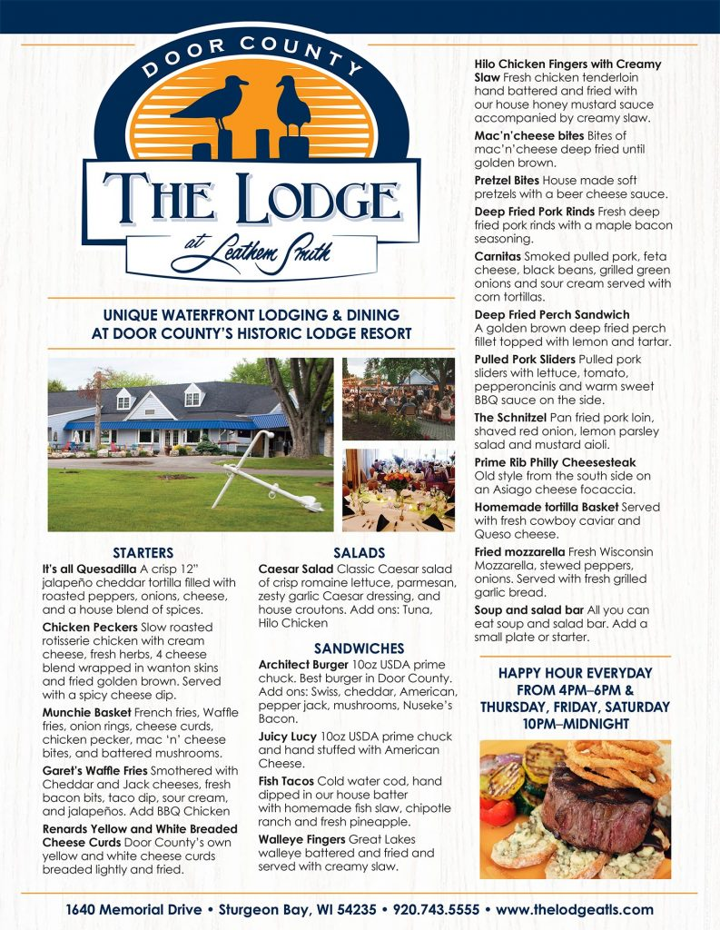 Sturgeon Bay Restaurant The Lodge at Leathem Smith New 2018 Menu
