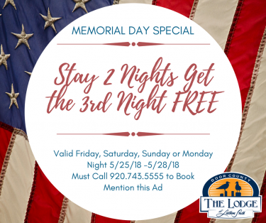 Memorial Day Lodging Special in Door County - Stay 2 Nights Get the 3rd Free